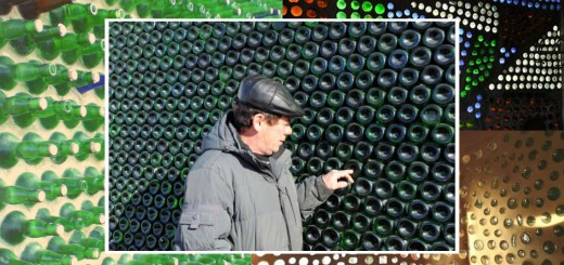casa de garrafa de vidro reciclada